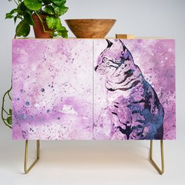 Pink Watercolor Cat Painting Credenza