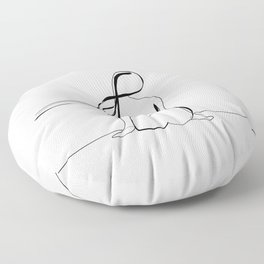 Woman Line Drawing Floor Pillow