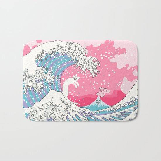 Psychodelic Bubblegum Kunagawa Surfer Cat Bath Mat