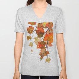 orange grapevine 2 Unisex V-Neck