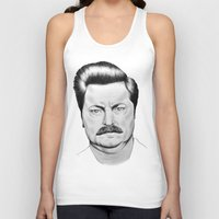 swanson Tank Tops featuring Ron Swanson by 13 Styx
