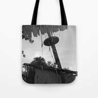 pirate ship Tote Bags featuring Pirate Ship by Yellow Tie