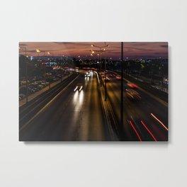 Sunset on the seaside street of Izmir (Turkey) Metal Print
