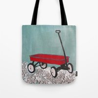 plain Tote Bags featuring Wagon plain by Patty Haberman