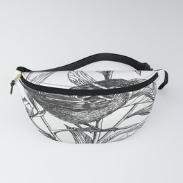 sparrow on peonies Fanny Pack