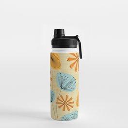 Retro Floral Pattern Yellow Water Bottle