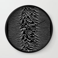 joy division Wall Clocks featuring Joy Division - Chinese White by hunnydoll