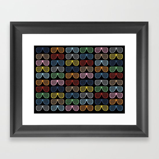 Rainbow Shutter Shades at Night Framed Art Print
