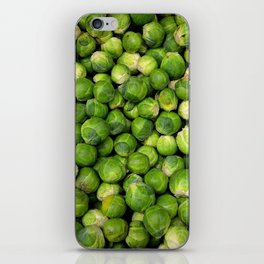 Green Brussels sprout vegetable pattern iPhone Skin