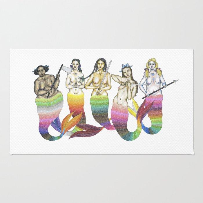 mermaid team Rug