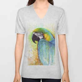 Bird Watercolor Animal Macaw Unisex V-Neck