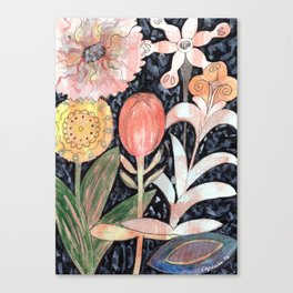 Mixed Flowers with Tulip on Black Canvas Print