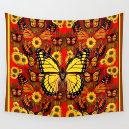 COFFEE BROWN MONARCH BUTTERFLY SUNFLOWERS Wall Tapestry
