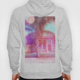 palm tree in the city with colorful bokeh light abstract Hoody