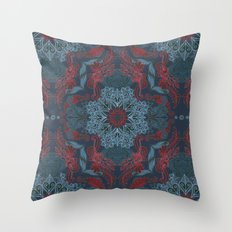 Vintage Fancy - a Pattern in Deep Teal & Red Throw Pillow