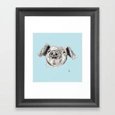 Baby Animals - Pig (Blue) Framed Art Print
