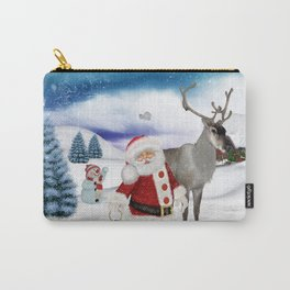 Christmas, Santa Claus with reindeer Carry-All Pouch