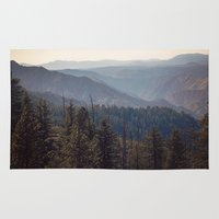 yosemite Area & Throw Rugs featuring Yosemite Mountains  by Laura Ruth
