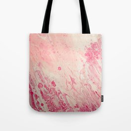 Fluid Art Acrylic Painting, Pour 2 - Light Pink, Magenta & White Blended Color Tote Bag