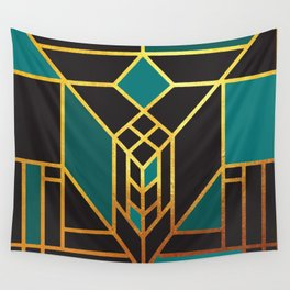 Art Deco Leaving A Puzzle In Turquoise Wall Tapestry