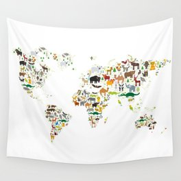 Cartoon animal world map for children and kids, Animals from all over the world on white background Wall Tapestry