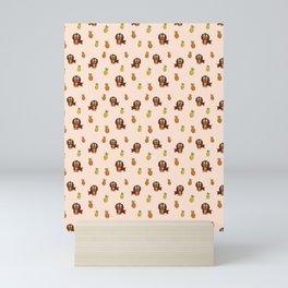 Cute tropical Dachshund and Pineapple Pattern (Orange) Mini Art Print