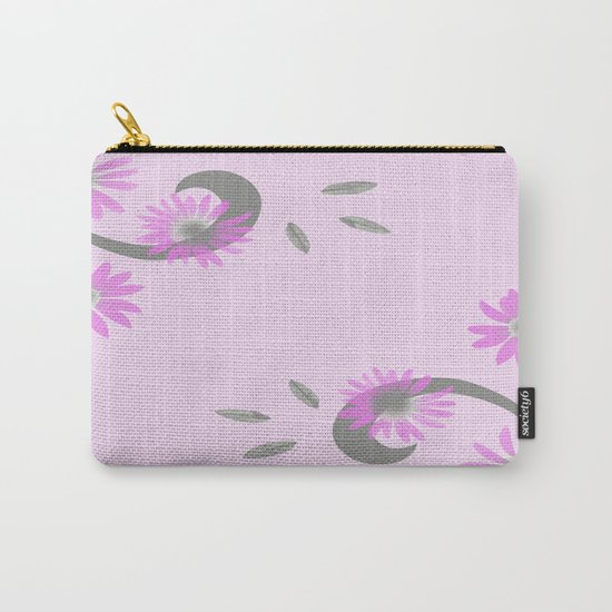 Floral Scroll Design - Pink Carry-All Pouch