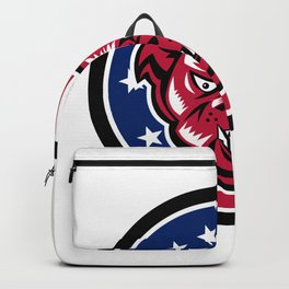 Bulldog Mascot American Flag Icon Backpack