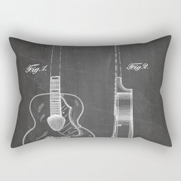 Accoustic Guitar Patent - Classical Guitar Art - Black Chalkboard Rectangular Pillow