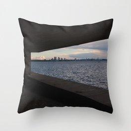 Sea City Skyline Throw Pillow