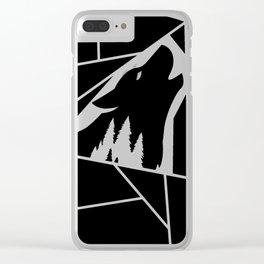 Geometric Wolf Golden Black Clear iPhone Case