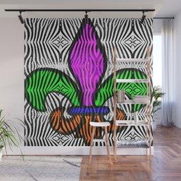 Fleur De Lis Zebra Print Wall Mural