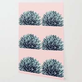 Blush Navy Blue Agave Chic #1 #succulent #decor #art #society6 Wallpaper