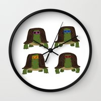 teenage mutant ninja turtles Wall Clocks featuring teenage mutant ninja turtles by C.t. Chain
