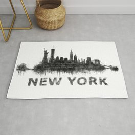 NY New York City Skyline NYC Black-White Watercolor art Rug