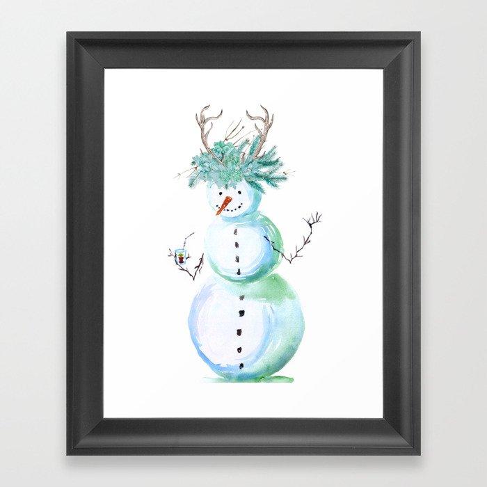 SNOWMAN PARTY ANIMAL Gerahmter Kunstdruck