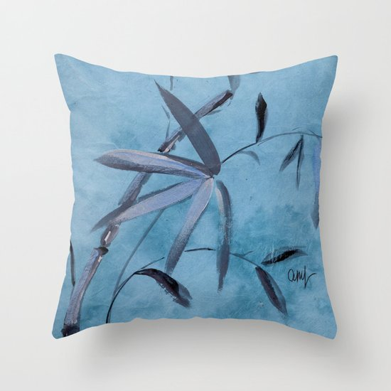 blue bamboo throw pillow by ariadne society6
