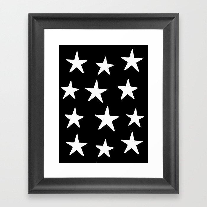 Star Pattern White On Black Gerahmter Kunstdruck