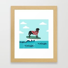 Black Labrador surfing dog breed art Framed Art Print