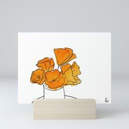 Orange Flowers in a Vase Mini Art Print