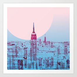 Sun In The City Skyline Design Art Print