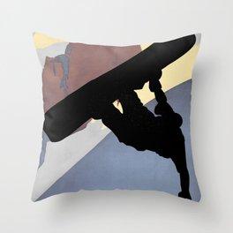 Snowboarding Dude Halfpipe Throw Pillow