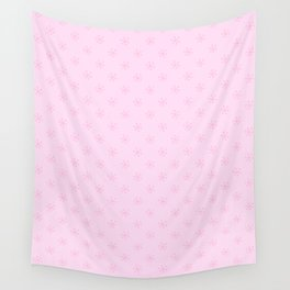 Cotton Candy Pink on Pink Lace Pink Snowflakes Wall Tapestry