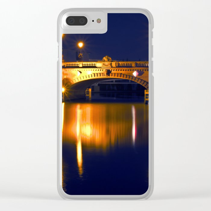 Nocturnal Lights on the river Spree in Berlin Clear iPhone Case