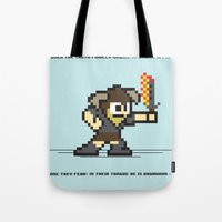 skyrim Tote Bags featuring 8 bit Dovahkiin by Deep Search