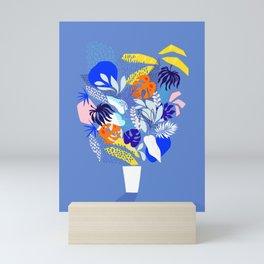 Keep Growing - Tropical plant on Blue Mini Art Print