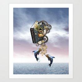 Steampunk ocean tale Art Print
