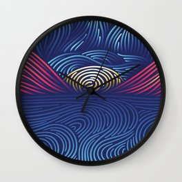 Abstract Landscape Made of Gradient Lines Wall Clock