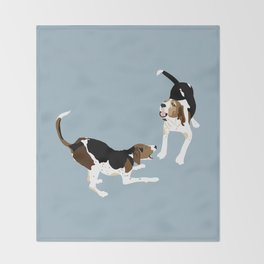 Coonhound Play Throw Blanket