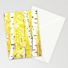 Yellow Aspen Trees Watercolor art Painting Yellow Birches wall hanging wall Art Stationery Cards